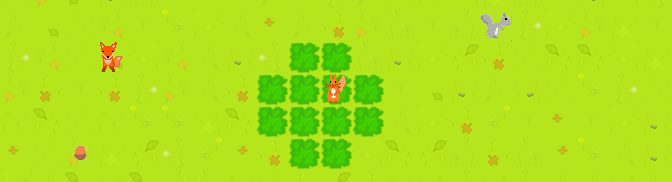Screenshot of 'get dem nuts' showing the red squirrel protagonist in a tree, with a grey squirrel and fox NPCs running around the grass below