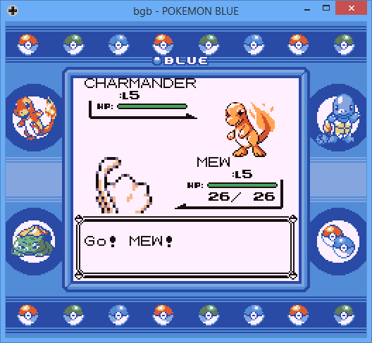 Screenshot of Pokémon Blue game, battling a level 5 Mew against Red's Charmander
