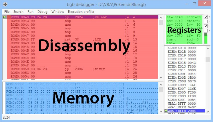 Screenshot of bgb debugger showing disassembly, registers, and memory sections
