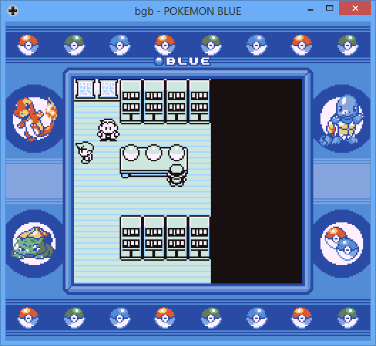 Screenshot of Pokémon Blue game, choosing starting Pokémon