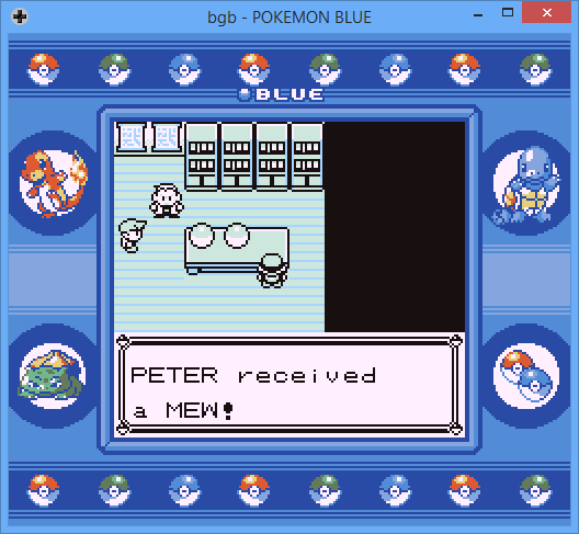 Screenshot of Pokémon Blue game, having just chosen Mew as starting Pokémon